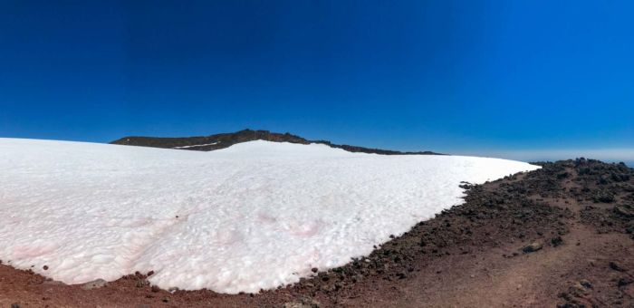 The summit of South Sister is on the far side of the crater