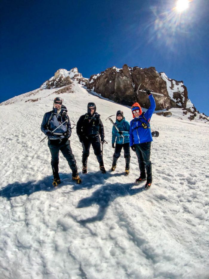 The Team on our way back down from the summit of Mount Shasta