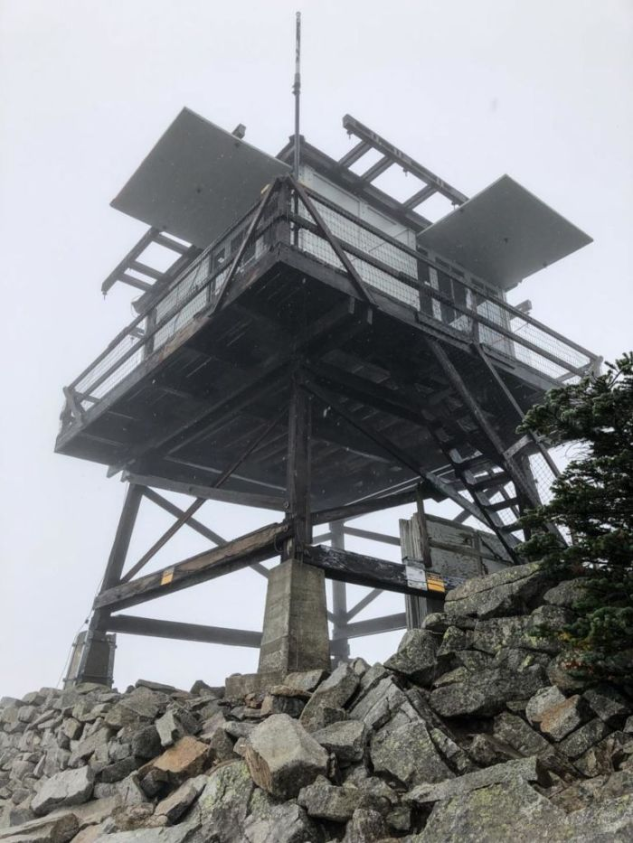 Reaching the fire lookout tower on Granite Mountain
