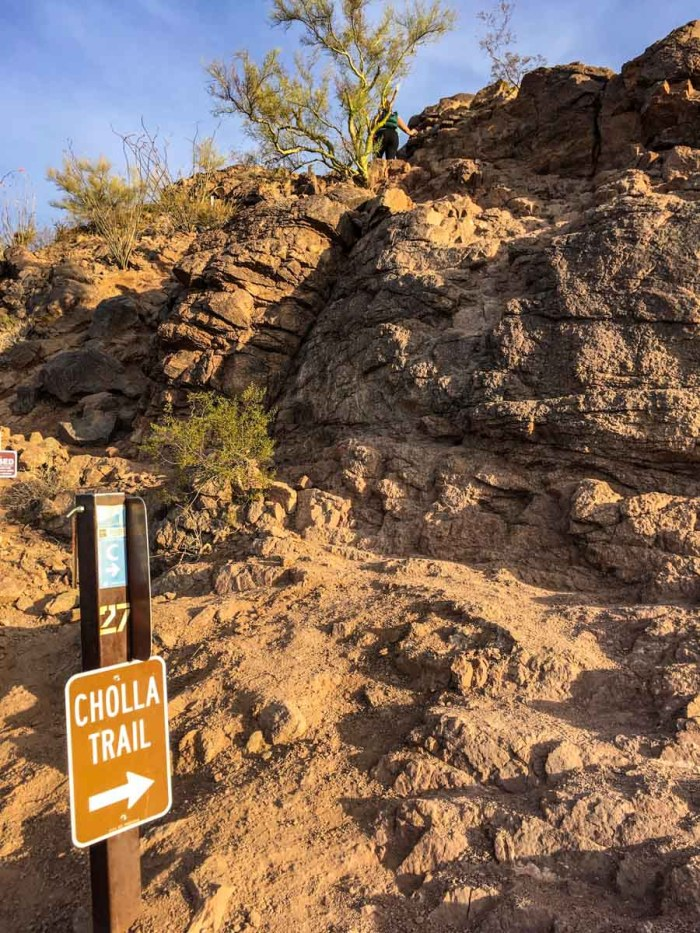 Some sections of the Cholla Trail on Camelback Mountain require light scrambling