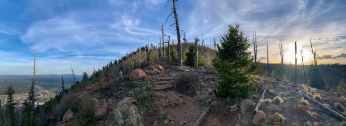Panoramic view on the ridge up to Mount Elden