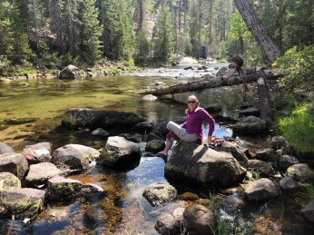 Cleaning our Feet in the Merced River at Little Yosemite Valley