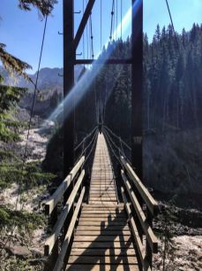 Watching Jason cross the Tahoma Creek Suspension Bridge