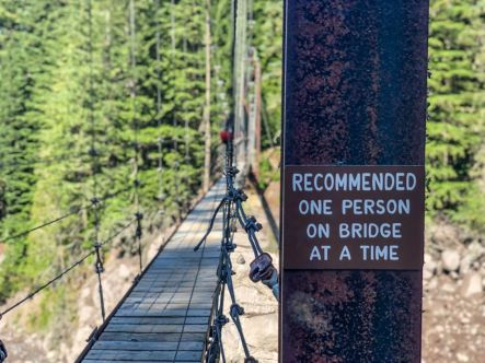 One person at a time on the Tahoma Creek Suspension Bridge