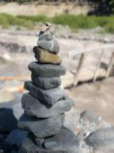 Cairn at White River on the Wonderland Trail
