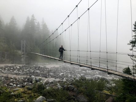 Derek on Carbon River Suspension Bridge