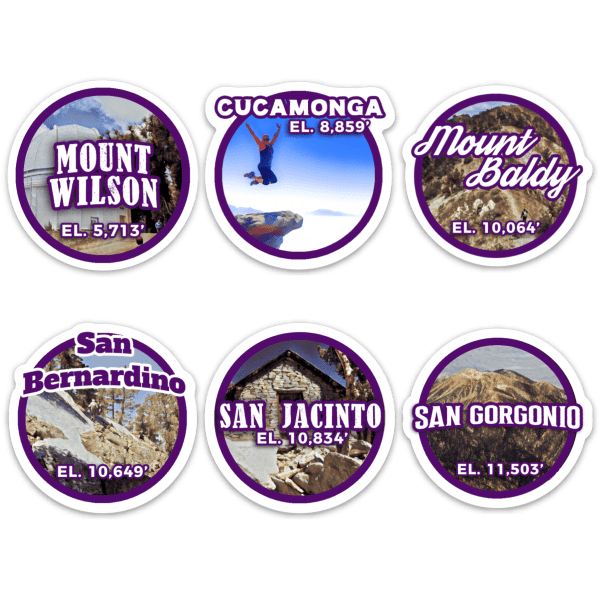 Six-Pack of Peaks Sticker Set