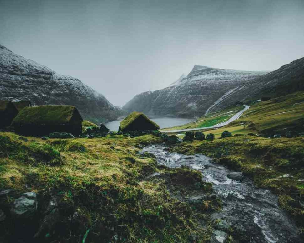 Faeröer eilanden in de winter