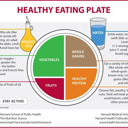 2011 – HSPH's Healthy Eating Plate corrects key flaws in MyPlate by focusing on whole grains, healthy proteins and oils, and vegetables other than potatoes. The red running figure is a reminder to stay active.