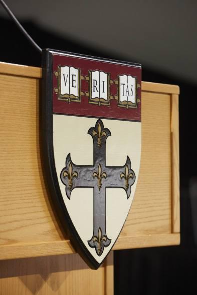 Harvard symbol on podium