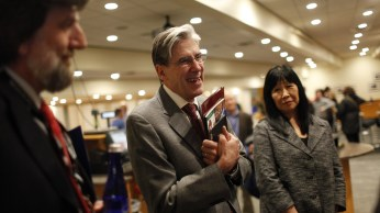 David Hunter, Julio Frenk and Phyllis Kanki spoke with fellow presenters and audience members at the reception.