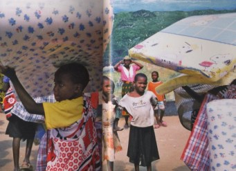 Tanzania - In Kigamboni, Tanzania, orphans and other vulnerable children receive free mattresses and bed kits that include insecticide-treated bed nets to prevent malaria. Children are at high risk for malaria in endemic areas, and malaria is a common comorbidity seen with HIV disease. The two infections interact in a lethal cycle; malaria increases susceptibility to HIV infection, and HIV viral load can spike during malarial fevers. ©Dominic Chavez