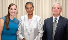 In London, Natalie Meyers, SM '13 (left) served as emcee for a dinner and conversation between Dean Williams and Sir Kent Woods, SM '83, that focused on current U.S. and U.K. public health issues.