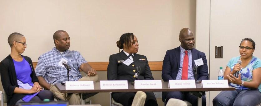 Alumni Panel: R. Hubbard, D. Richardson, J. Smith, Q. Greene, S. Bellamy (L-R)