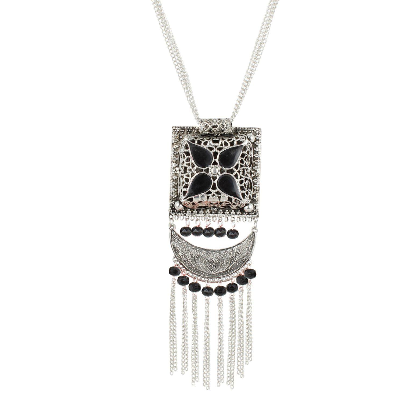 Aradhya Designer Antique Oxidized Silver Fancy Necklace