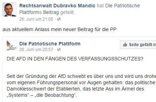 Der umstrittene Eintrag des AfD-Mannes Mandic auf Facebook. Foto: Screenshot