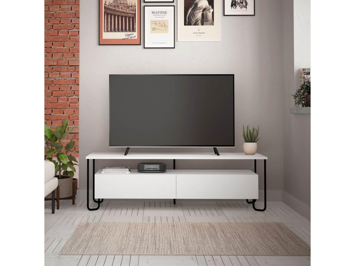 meuble tv 150 cm solina blanc et noir