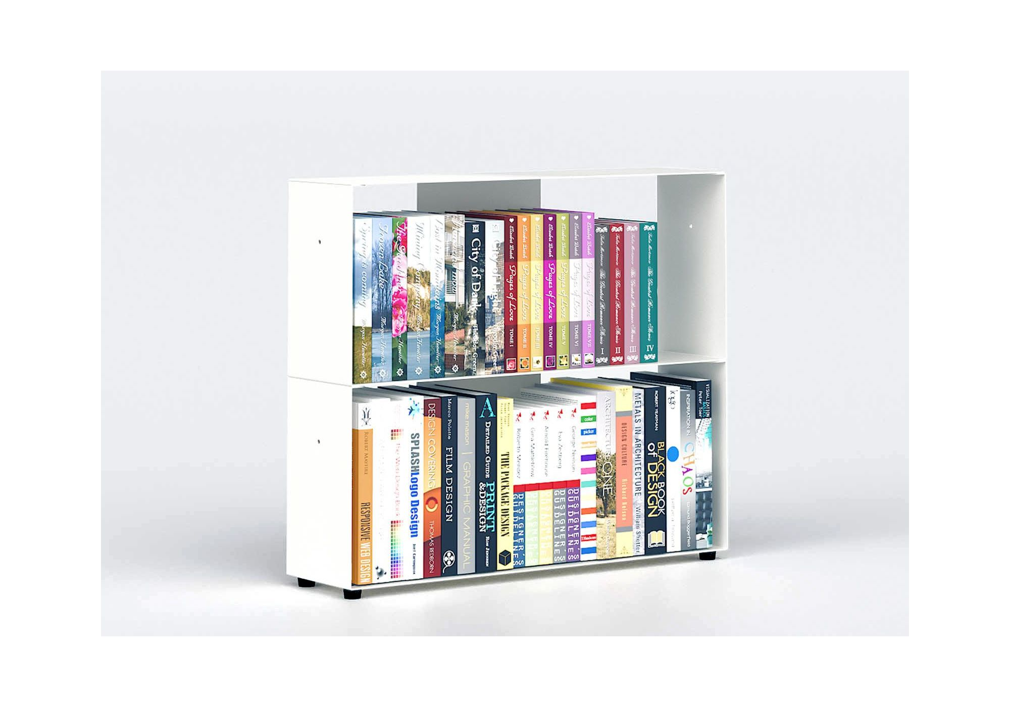 vente bibliotheque basse 60 cm metal blanc 2 niveaux