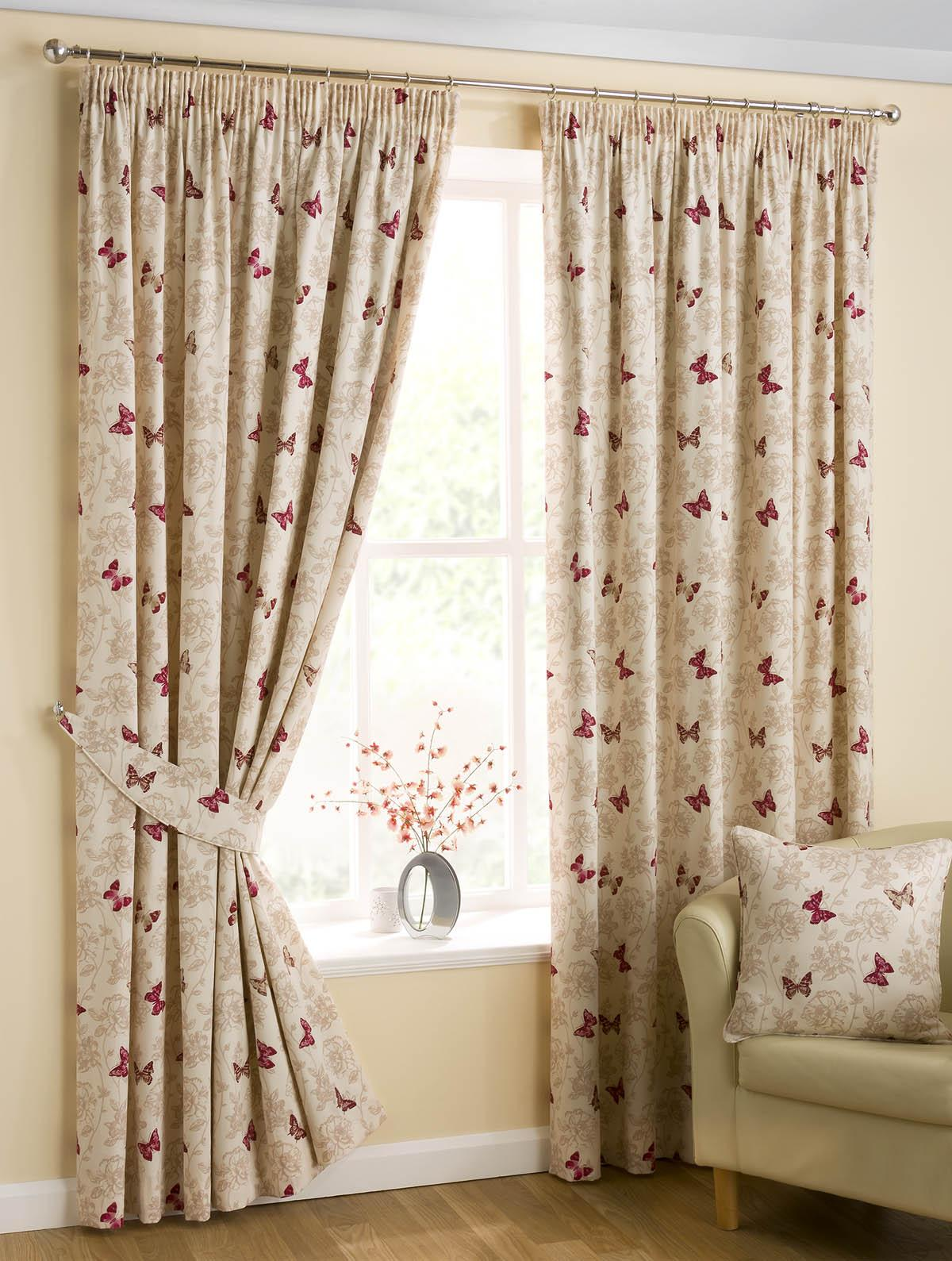 Butterfly Ready Made Pencil Pleat Curtains