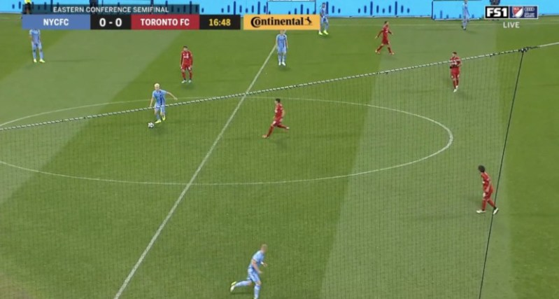 A CitiField foul ball net obstructed a main camera view for NYCFC-TFC