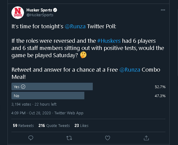 The poll @HuskerSports took down.