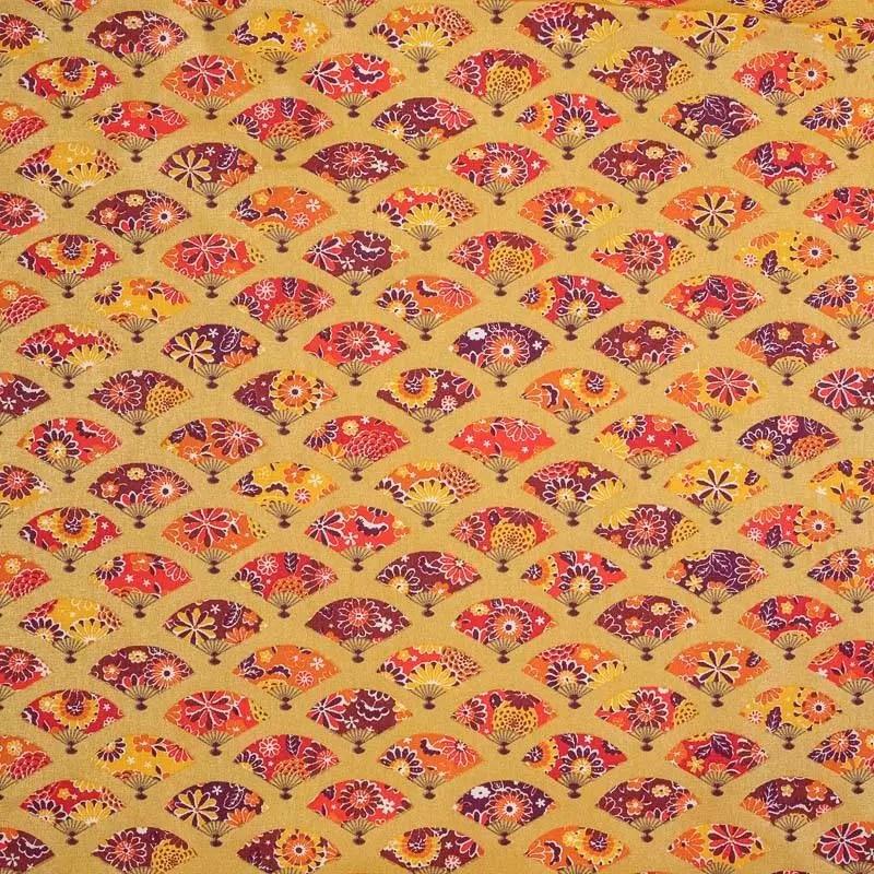 coton or brillant motif eventail japonais