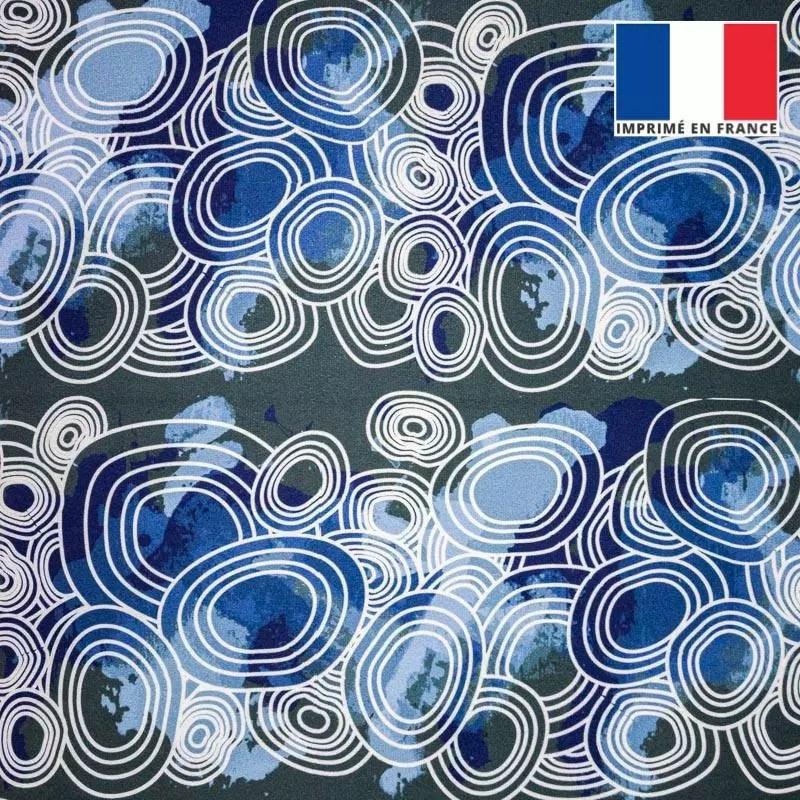 velours ras motif rond geometrique bleu tissus price