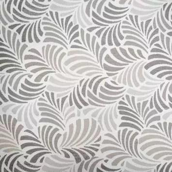 jacquard ecru motif feuille gris janis grande largeur jacquard ecru motif feuille gris janis grande largeur