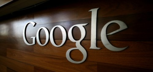 The Google logo is seen at the Google he