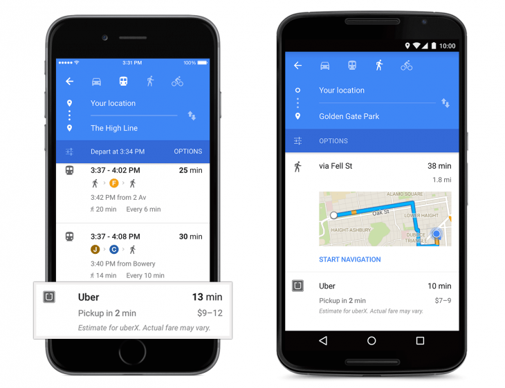 Uber card in Google Maps 730x561 Google Maps gets a fresh new Material Design on mobile and deeper Uber integration