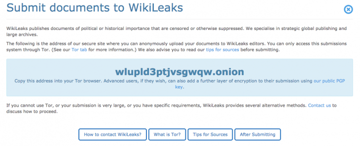 Screen Shot 2015 05 01 at 1.20.41 PM 730x297 WikiLeaks has started accepting secret documents again after nearly five years