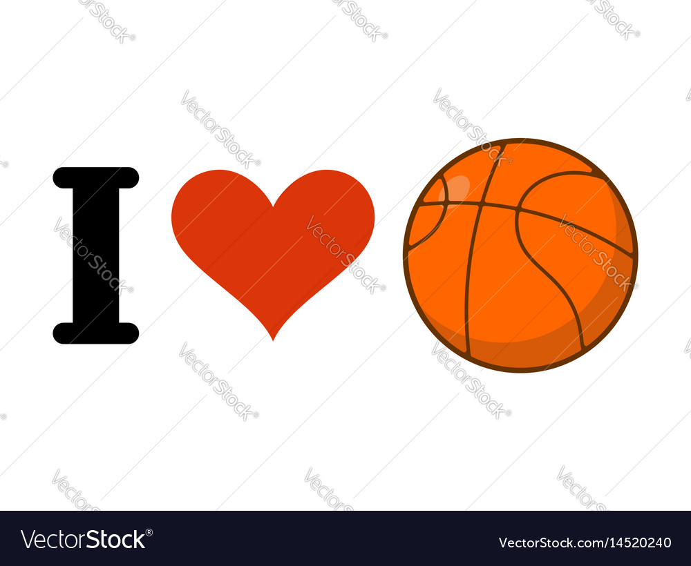 Download I love basketball heart and ball games emblem for Vector Image