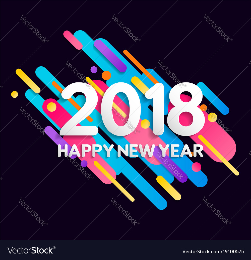 Happy new year 2018 color gradient decoration card Happy new year 2018 color gradient decoration card vector image