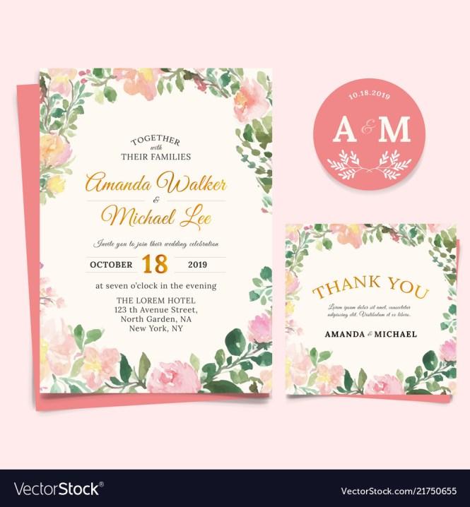Fl Wedding Invitation Elegant Thank You Card