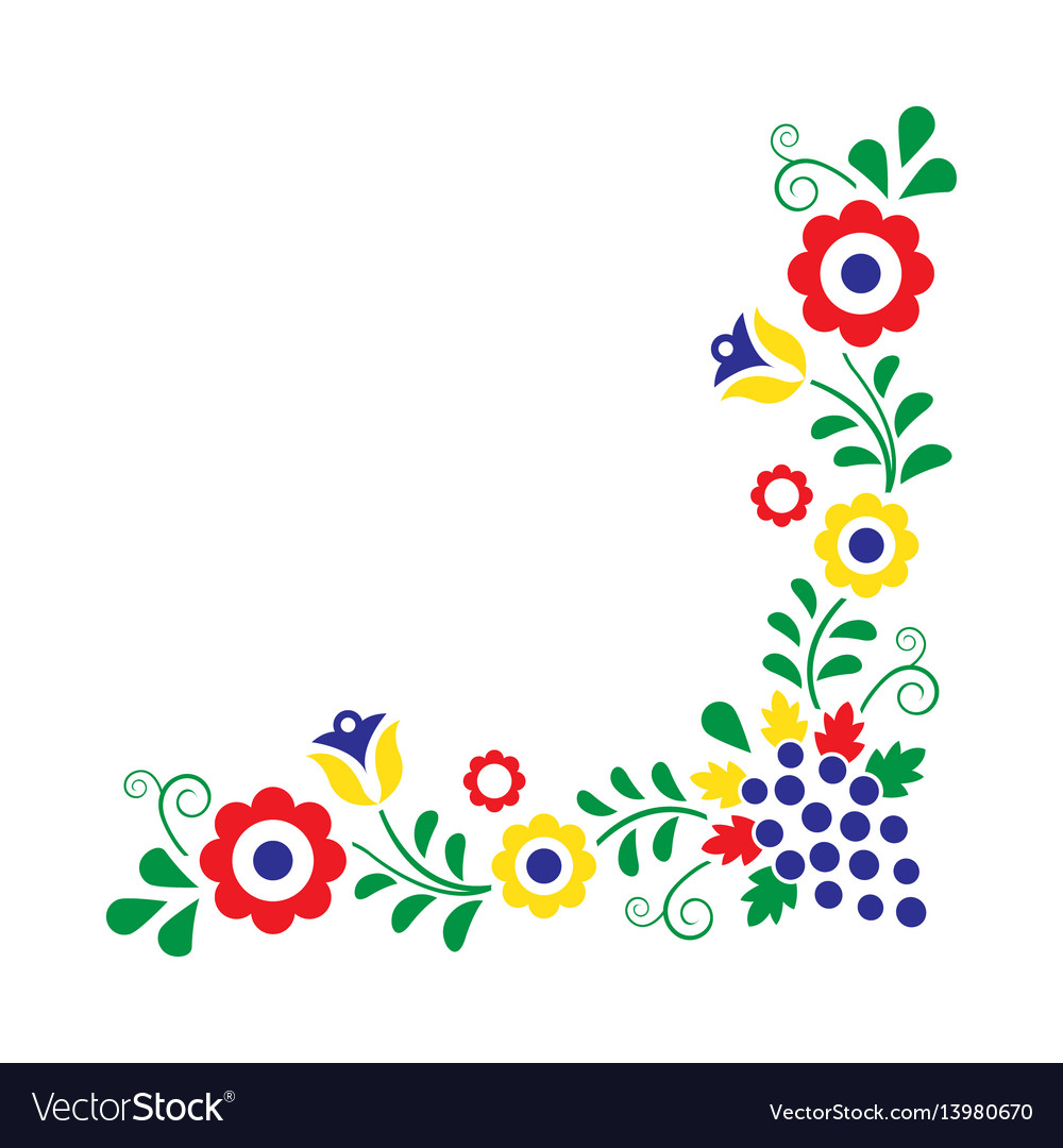 Folk Embroidery With Flowers Traditional Polish Vector Image On