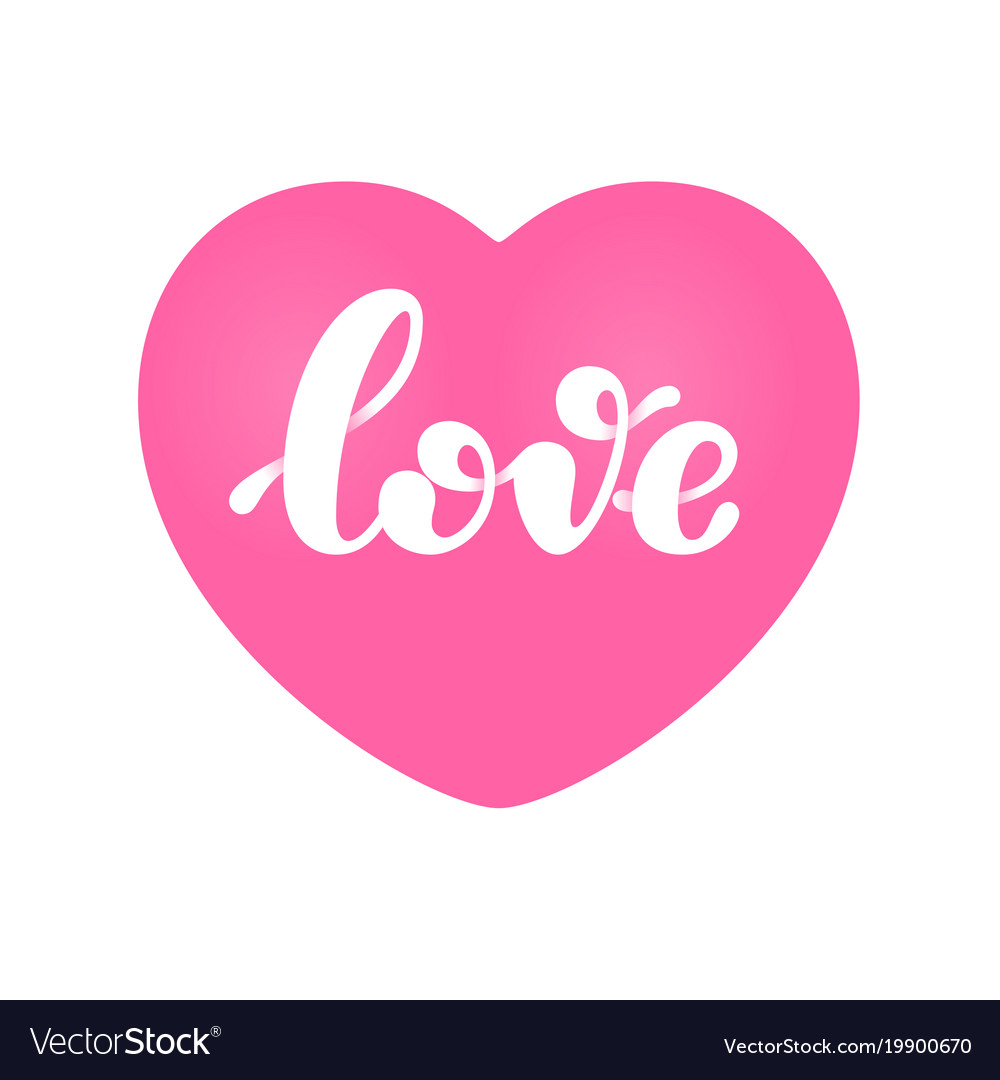 Download Love word lettering isolated on pink heart shape Vector Image