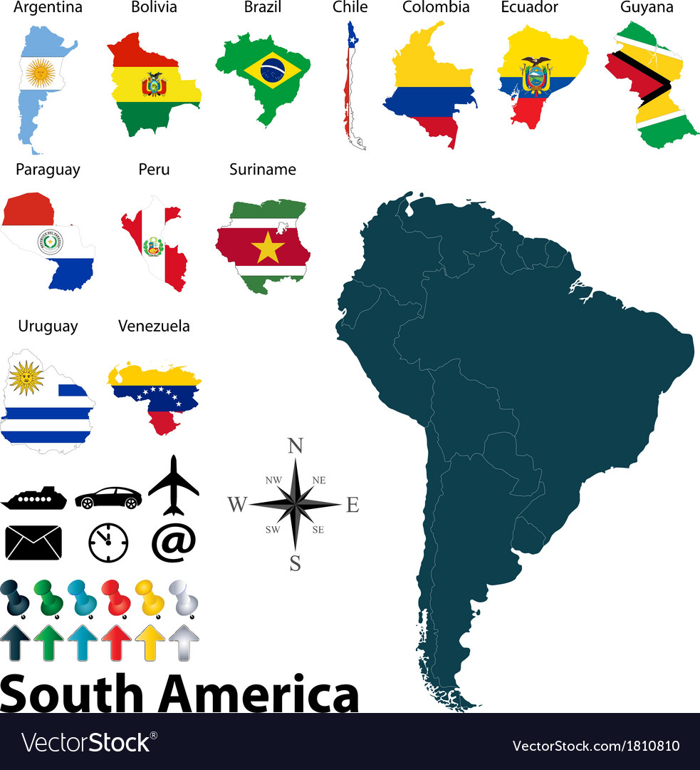 Maps With Flags Of South America Royalty Free Vector Image
