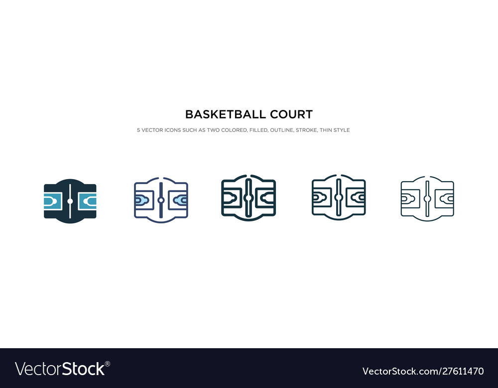 Basketball Court Icon In Different Style Two Vector Image