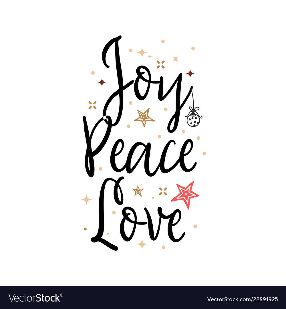 Download Joy peace love holiday banner - new year slogan Vector Image