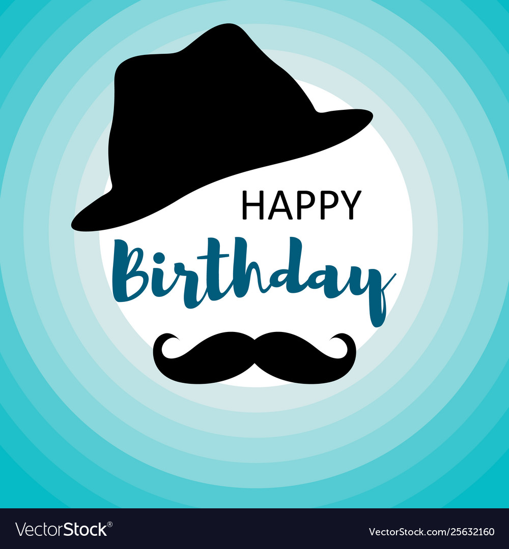 Happy Birthday Card For Men On Blue Circles Vector Image