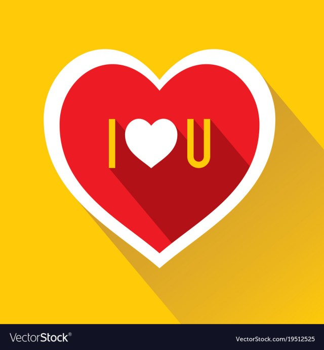 I love u abbreviate write on heart shape Vector Image