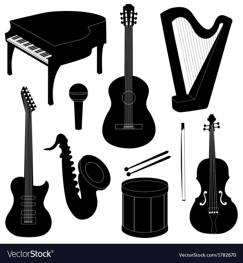set of musical instruments silhouettes royalty free vector