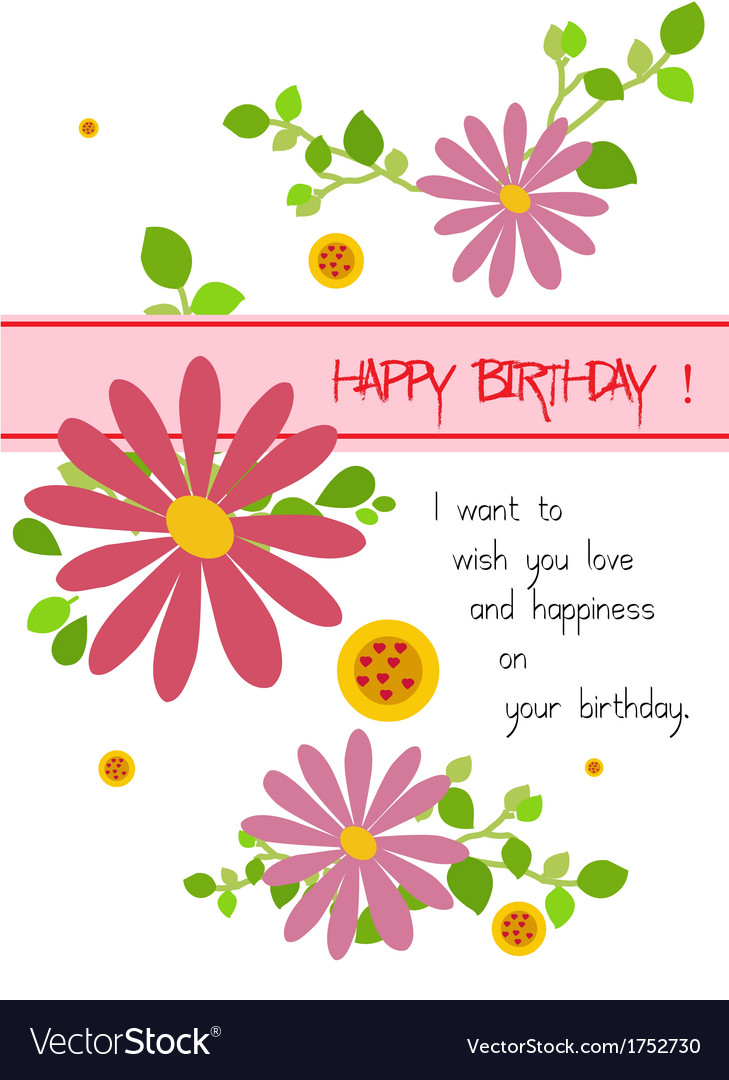 Happy Birthday With Flowers Royalty Free Vector Image