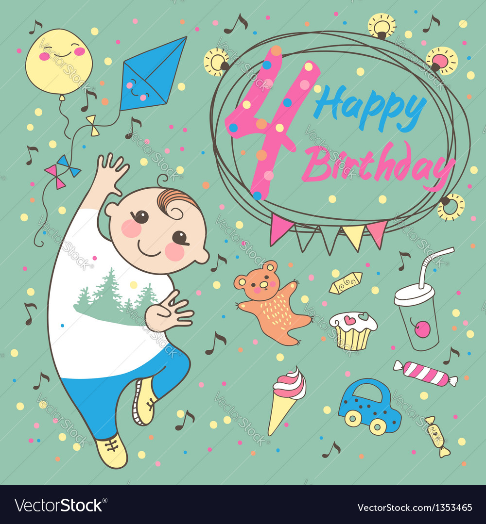Birthday Little Boy 4 Years Royalty Free Vector Image