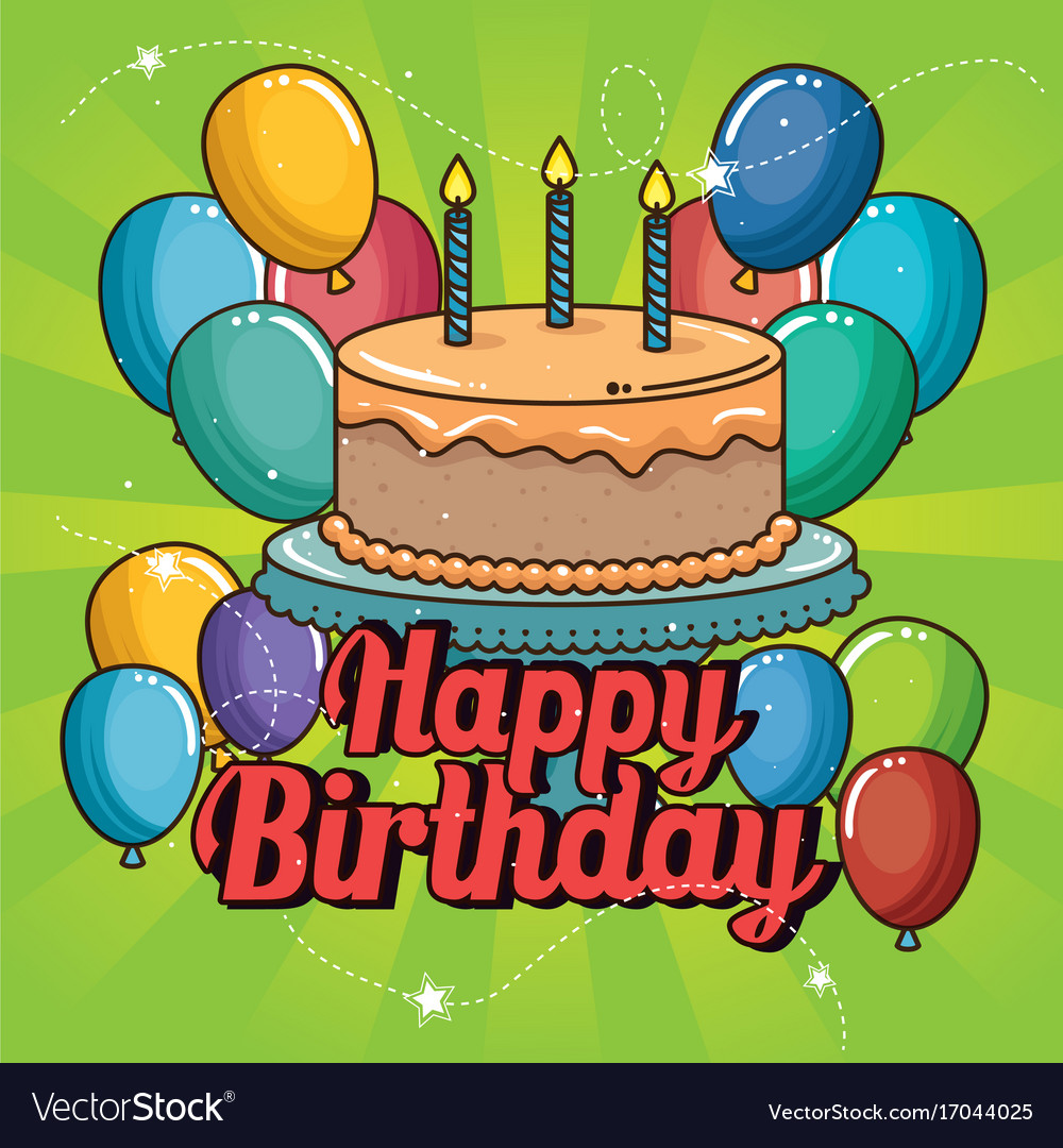 Happy Birthday Cake And Balloons Design Royalty Free Vector