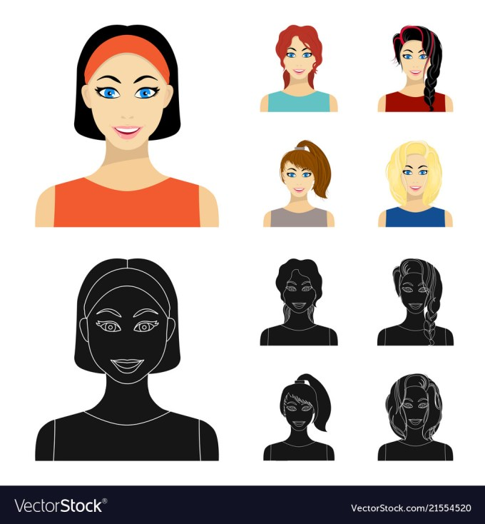 types of female hairstyles cartoonblack icons in