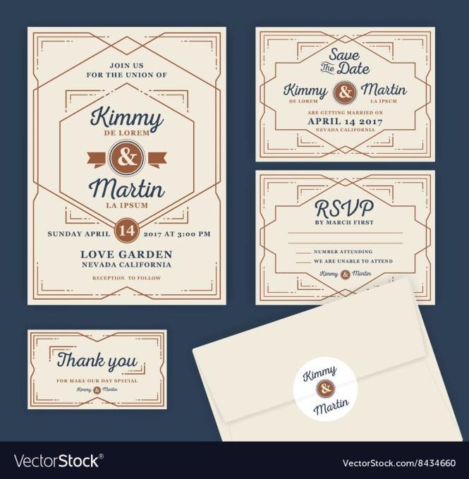 Art Deco Letterpress Wedding Invitation