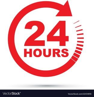 Red 24 hours Royalty Free Vector Image - VectorStock