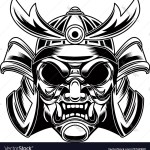 Samurai Helmet In Tattoo Style Isolated On White Vector Image