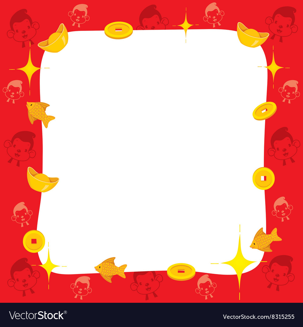Monkey With Chinese New Year Border Royalty Free Vector Monkey With Chinese New Year Border vector image